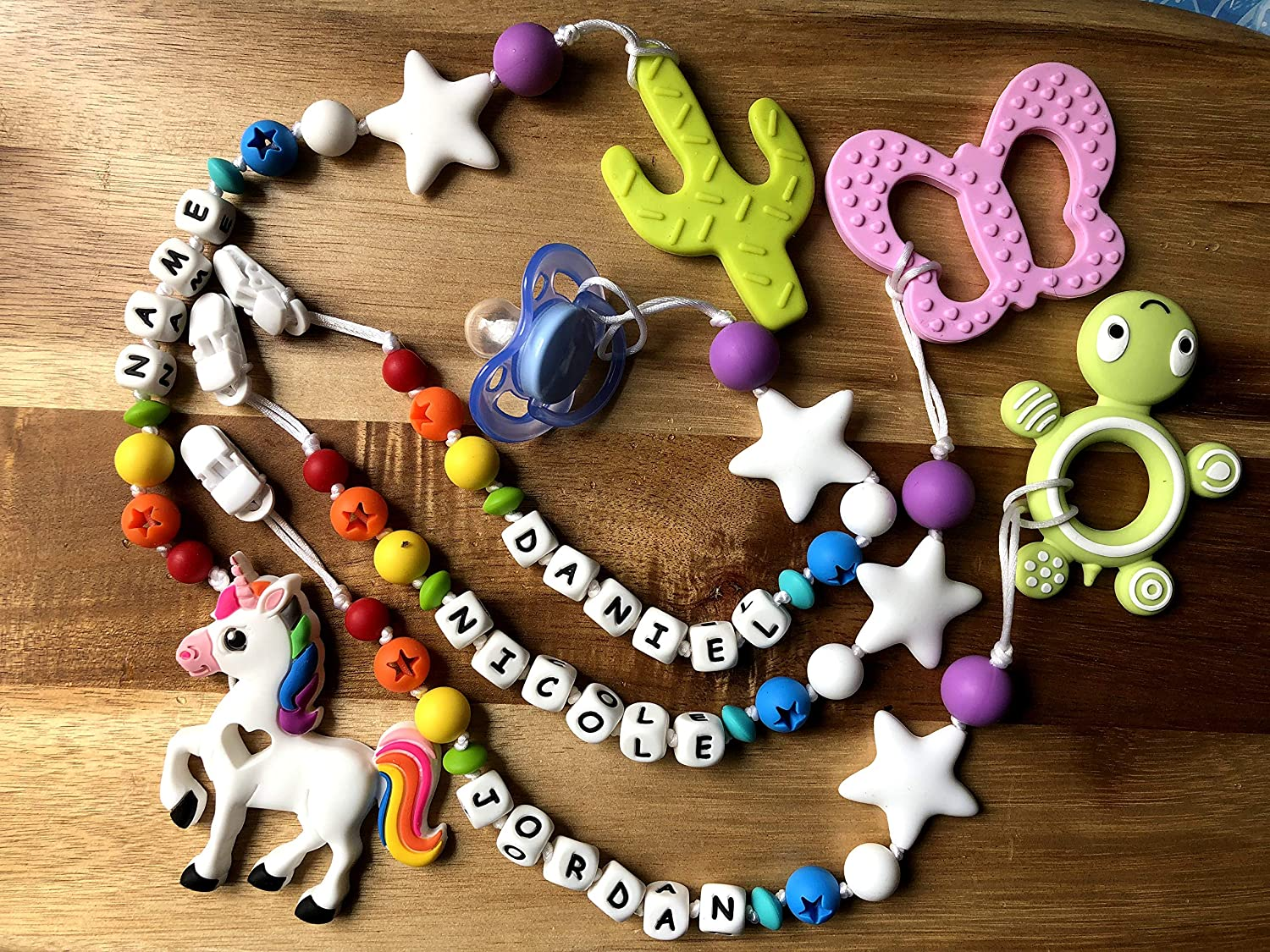 Custom PERSONALIZED Rainbow Star Pacifier Clip with Silicone Teether Toy (Butterfly/Cactus/ Unicorn/Turtle)