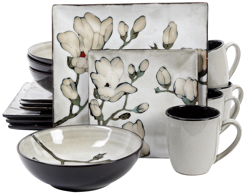 Amazon.com | Gibson 16 Piece Claretta Reactive Glaze Floral Dinnerware Gray/White Dinnerware Sets  sc 1 st  Amazon.com & Amazon.com | Gibson 16 Piece Claretta Reactive Glaze Floral ...