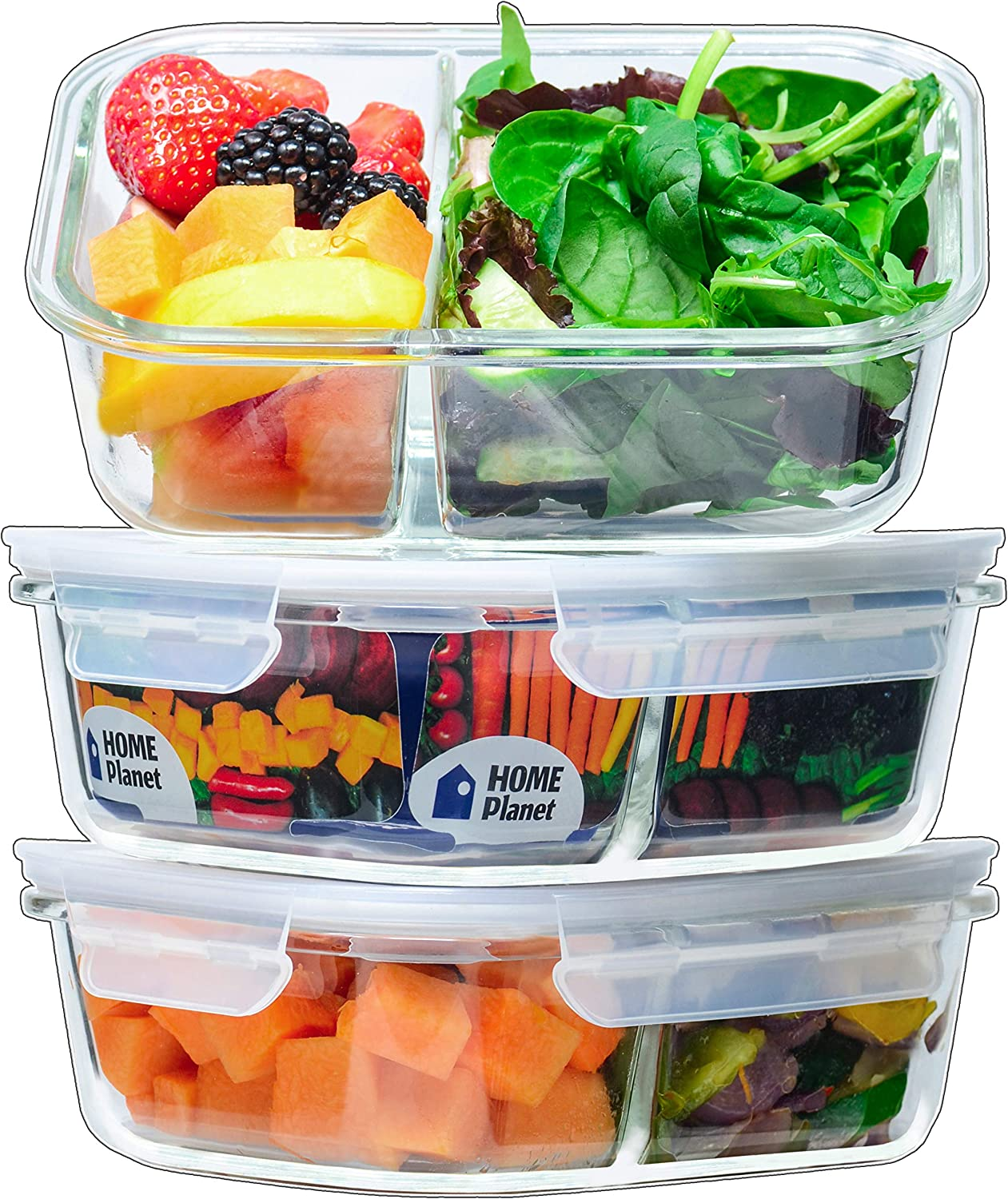 Home Planet Glass Meal Prep Containers 2 Compartment | Glass Lunchbox | 3 Pack 36 Oz | 97% Less Plastic Packaging | BPA-Free lids | Glass Divided Lunch Containers | Glass Portion Control Containers