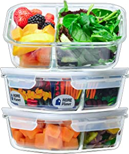 Home Planet Glass Meal Prep Containers 2 Compartment   Glass Lunchbox   3 Pack 36 Oz   97% Less Plastic Packaging   BPA-Free lids   Glass Divided Lunch Containers   Glass Portion Control Containers