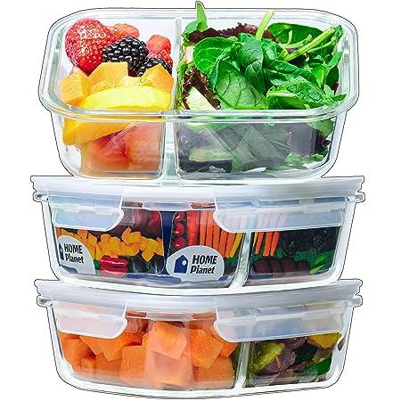 Home Planet® Recipientes de Cristal para Alimentos con 2 Compartimentos (1050ml X 3) | Libre de BPA Tapa | Tupperware para microondas | Ideal como ...