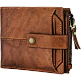 Spiffy Brown Genuine Hunter Leather Wallet For Men With Credit Card Holder Real Leather Men's Wallet Purse