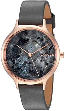 bd848b3f6de Skagen Women s Anita Quartz Stainless Steel and Leather Casual Watch Color  Rose  Gold Black (