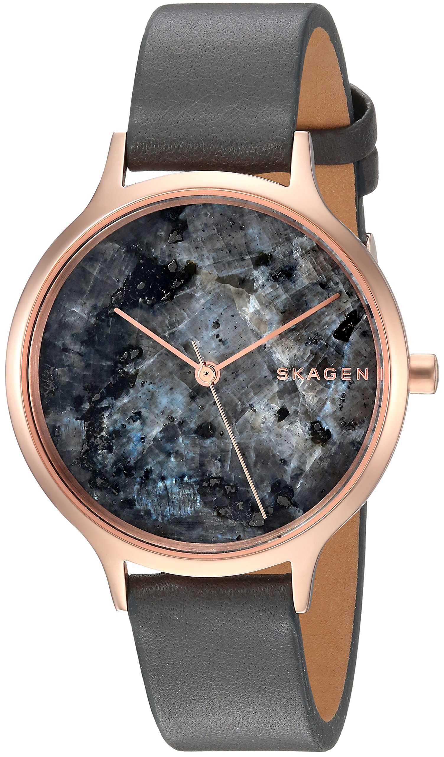 Skagen Women's 'Anita' Quartz Stainless Steel and Leather Casual Watch, Color:Grey (Model: SKW2672)