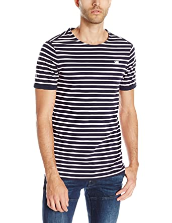f4f9d96ad6 G-STAR RAW Men's Prebase Stripe Short Sleeve T-Shirt, Sarthe Blue ...