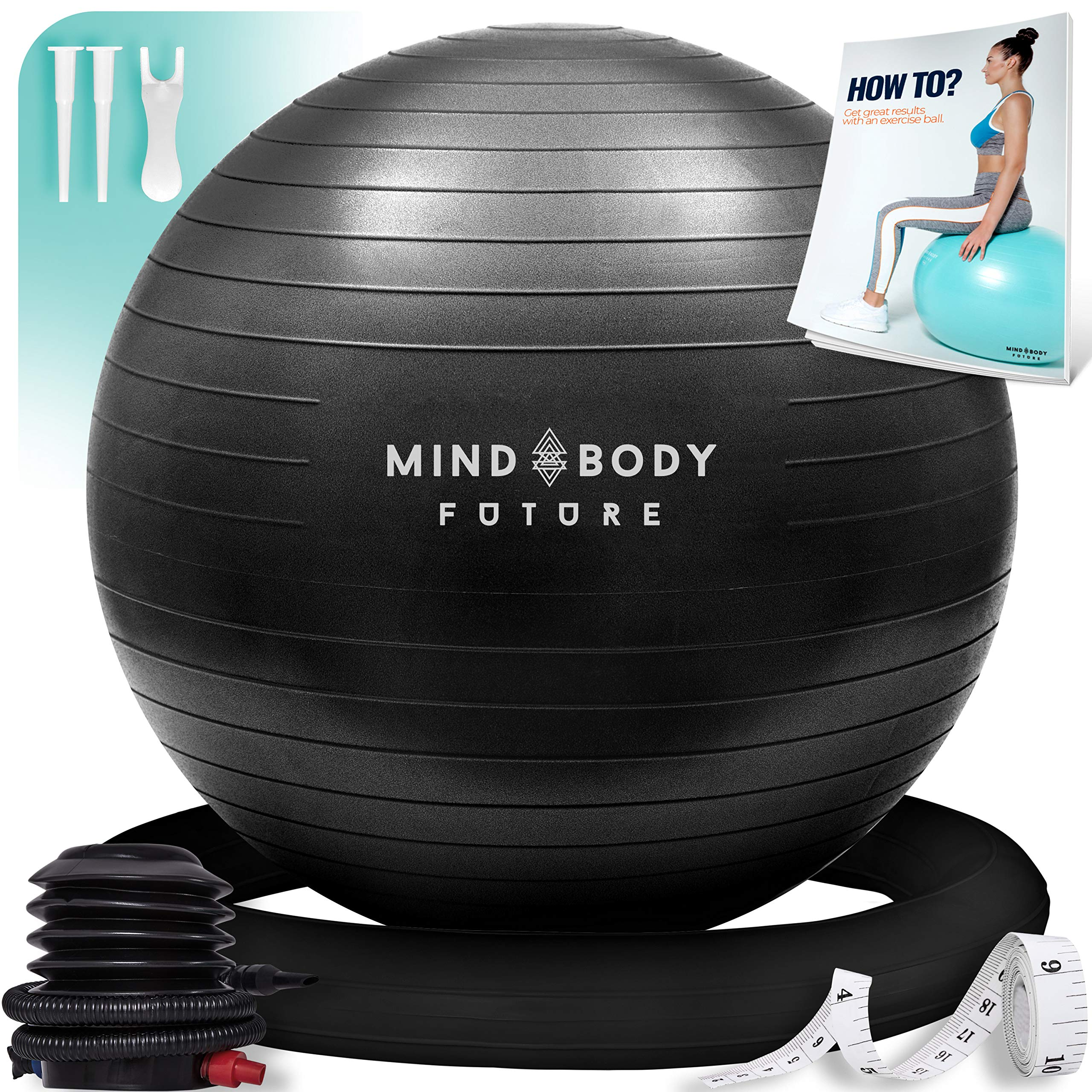 Mind Body Future Exercise Ball Chair & Stability Ring. 65cm Black. Anti-Slip & Anti-Burst for Safety. Ideal for Yoga, Pilates or Birthing Therapy - Includes Bonus eGuide & Pump