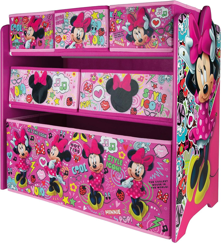Urbnliving Disney Minnie Mouse Toy Box Kids Bedroom Storage Unit Shelves Organiser Children Bedroom Play Room Amazon Co Uk Kitchen Home