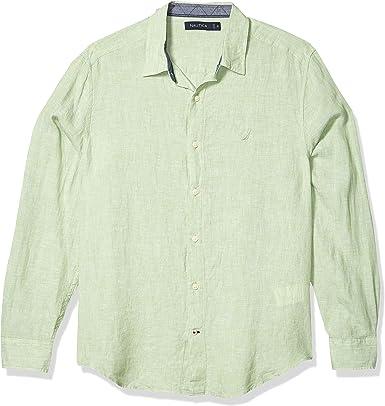 Nautica - Camisa de manga larga de lino sólido para hombre: Amazon.es: Ropa y accesorios