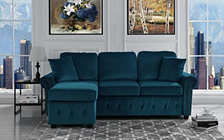 Classic Small Space Tufted Brush Microfiber Sectional Sofa with Chaise L Shape Couch (Dark : dark blue sectional - Sectionals, Sofas & Couches