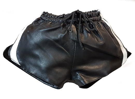 Leder Short mit Gummizug aus Lamm Nappa (W36, Schwarz Weiß)  Amazon ... 60a74da862