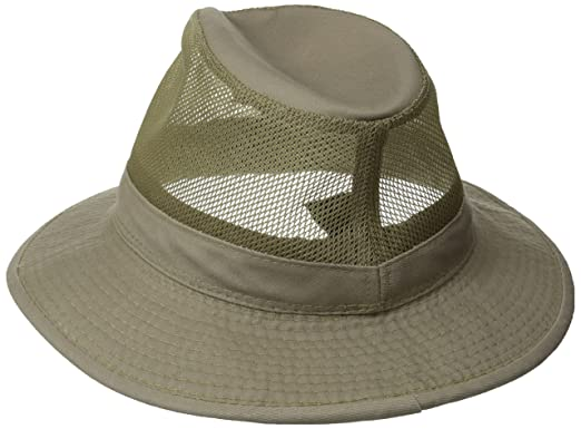 0103f9e5b2c9d Dorfman Pacific Men s Garment Washed Twill Safari Hat With Mesh Sides at  Amazon Men s Clothing store  Scala Sun Hats