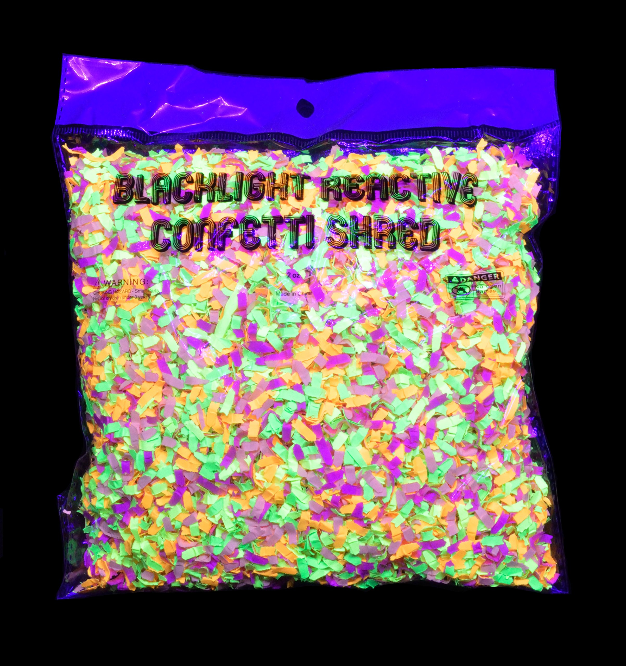 Blacklight Reactive Neon Confetti Bright Flourescent Colors Glows with UV Light Party Favors, Decorations, Birthday Parties (2oz)