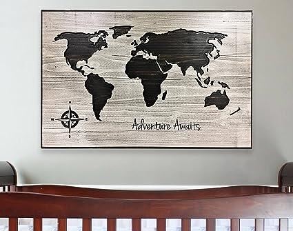 Map Of World Wall Art.Amazon Com Olga212patrick Nursery Decor Adventure Awaits Kids Room