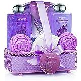 Spa Gift Basket, Luxury 8 Piece Bath & Body Set For Men/Women, Lavender & Jasmine Fragrance - Enriched with Shea Butter & Vitamin E - Includes Bath Bomb, Cosmetic Bag, Shower Gel, Bubble Bath & More!