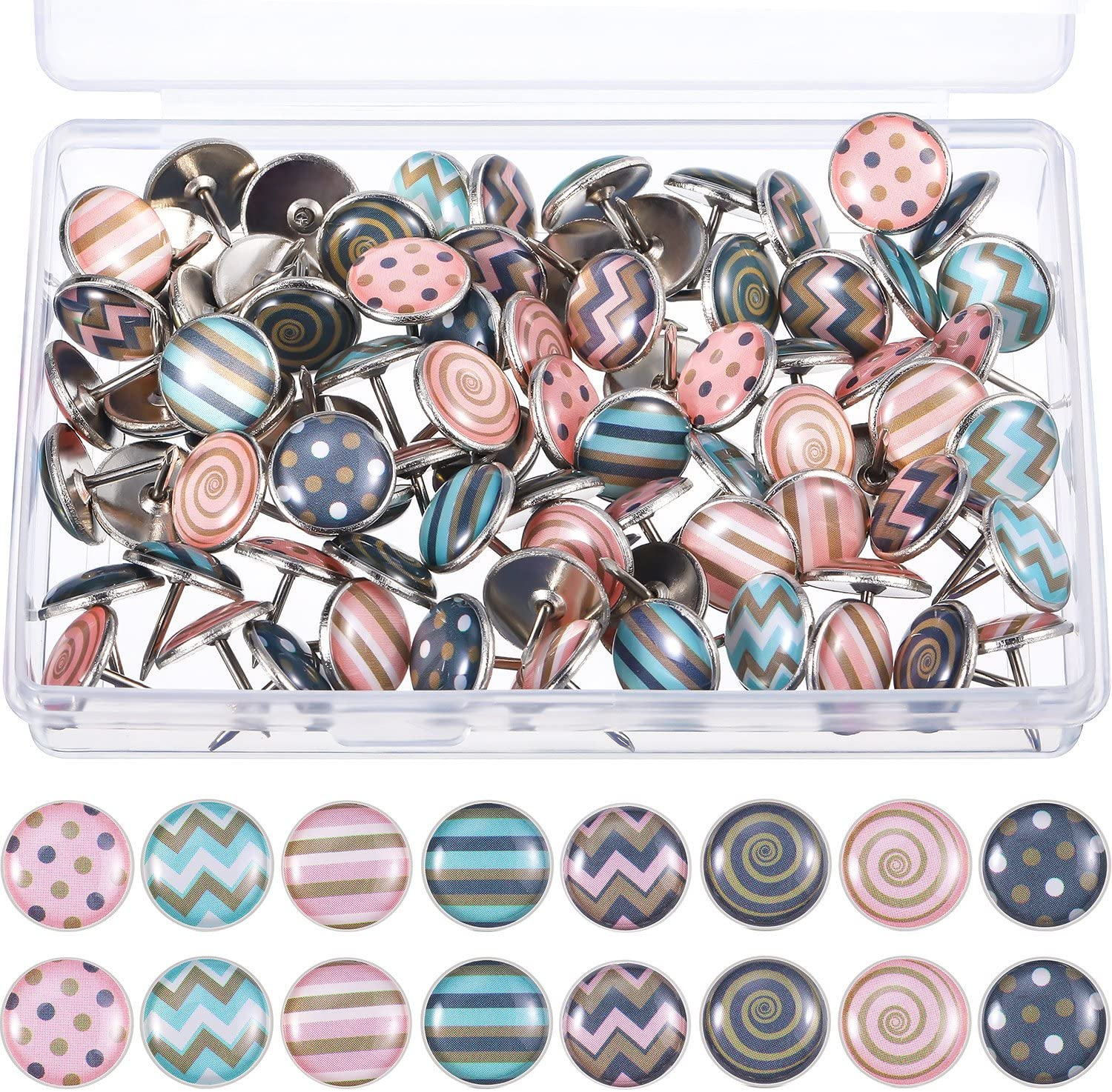 Creative Fashion Push Pins Decorative Thumbtacks for Wall Maps, Photos, Bulletin Board or Cork Boards, 8 Different Patterns, 80 Pieces (Pink)