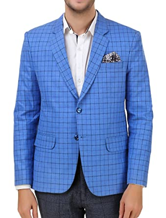 56452475b382 men in class Men's Cotton Blended Check Style Regular Fit Casual Party Wear  Blazer (Blue