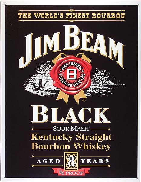 Jim Beam Black label Whisky Cartel de Chapa Placa metal ...