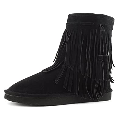Kali Womens 2 Layer Fringe Fur Lining Faux Suede Ankle Booties Womens Black M