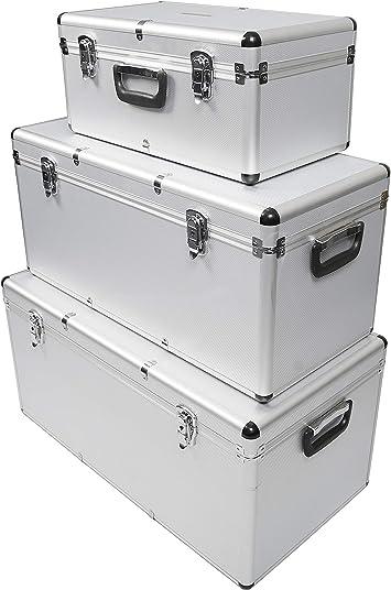 3 cajas de herramientas de aluminio, caja de almacenamiento para el pecho con cerradura, tamaño grande, mediano y pequeño con asas: Amazon.es: Bricolaje y herramientas