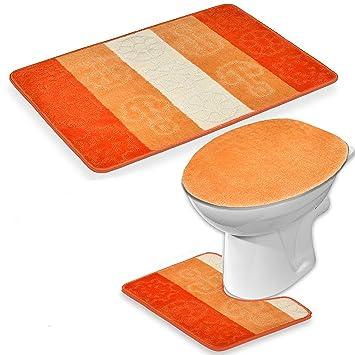 Grosse Ensemble salle de bain 3 pièces Tapis de bain Orange Kit ...