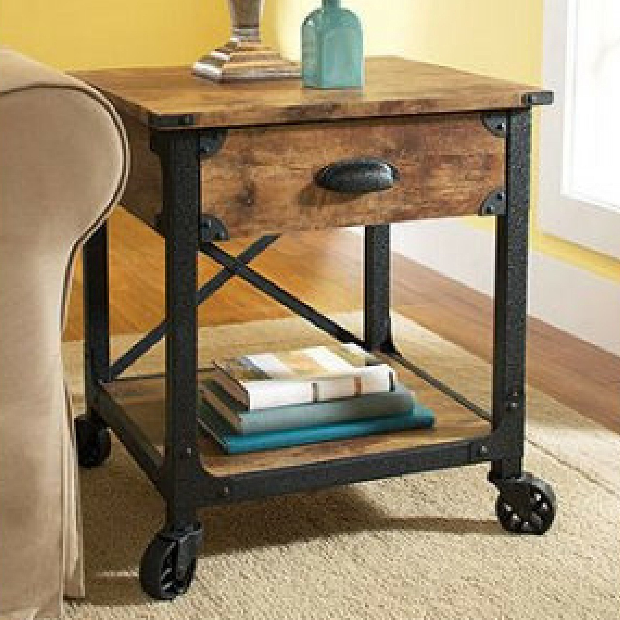 Antiqued Black Rustic Country Side Table, Pine Finish