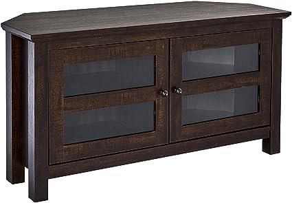Dark Wood Tv Credenza : Amazon rockpoint adonia corner tv stand media console