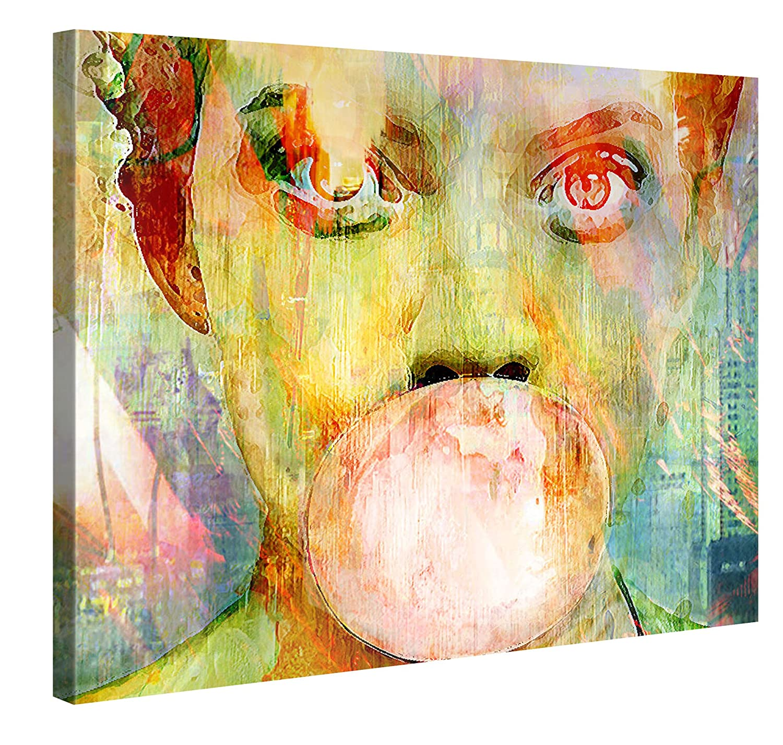 Amazon.com: Large Canvas Print Wall Art - BUBBLEGUM GIRL - 40x30 ...