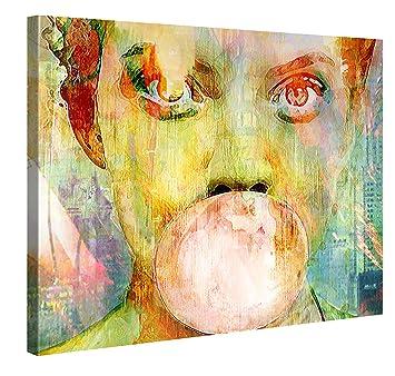Exceptional Premium Leinwanddruck 100x75 Cm U2013 Bubblegum Girl U2013 XXL Kunstdruck Auf  Leinwand Auf 2 Cm Holz Design Ideas