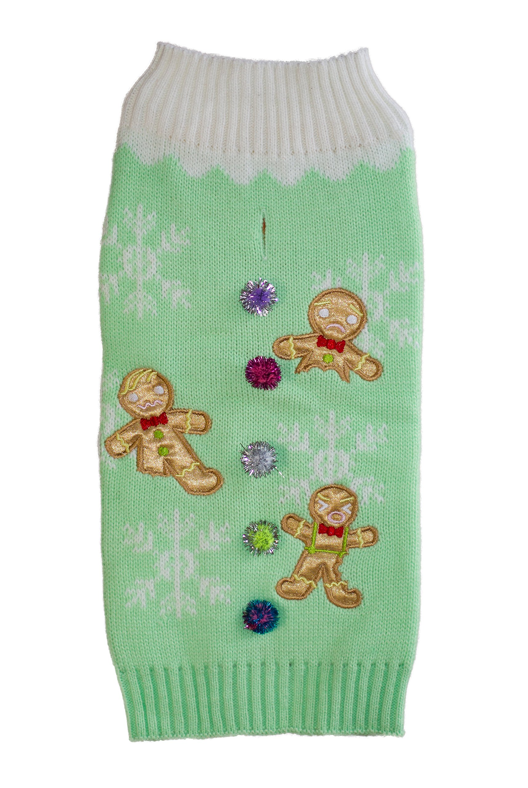 New York Dog Gingerbread Men Holiday Ugly Sweater, Mint, Small