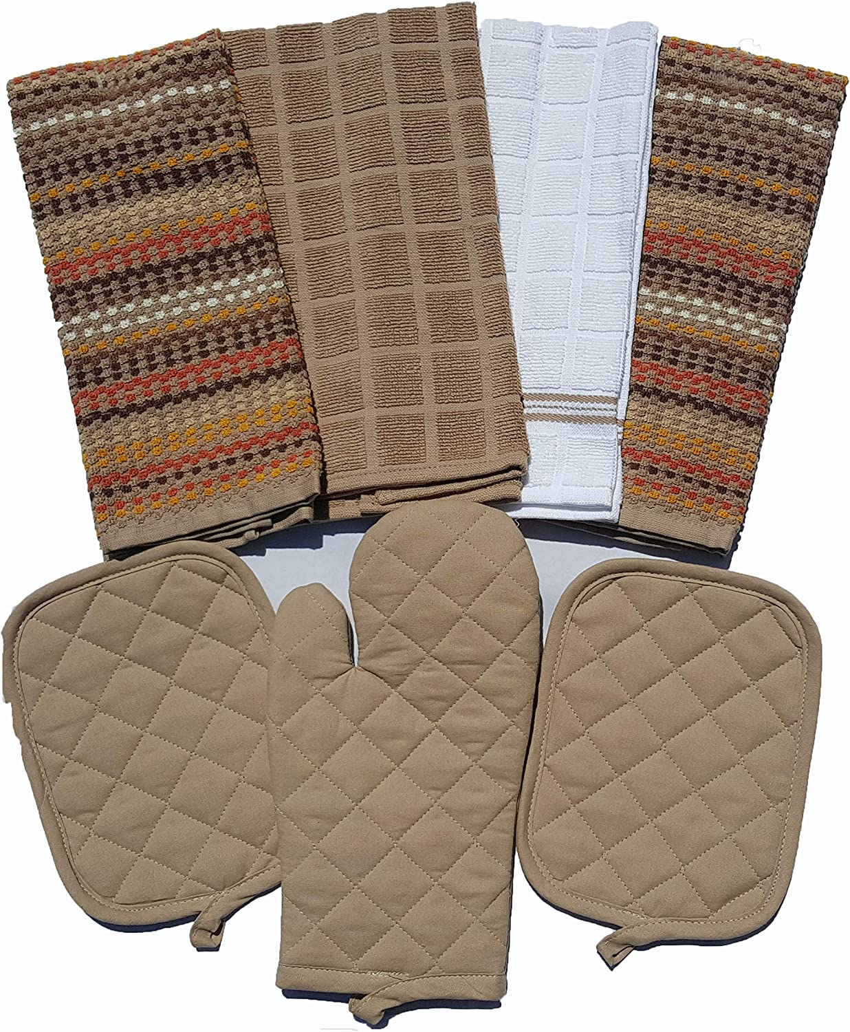 Mainstay Kitchen 7 Piece Set 2 Pot Holders, 1 Oven Mitt, 1 White 1 Brown 2 Multi-Color Towels