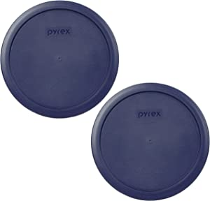 Pyrex 7402-PC 6/7 Cup Blue Round Plastic Food Storage Lid - 2 Pack
