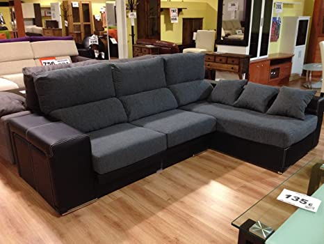 MUEBLES MATO - Sofa cheslong zafiro dcho. Negro y gris ...