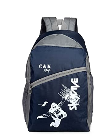 Chris Kate Polyester 26 Ltr Blue School Backpack Amazon In Bags