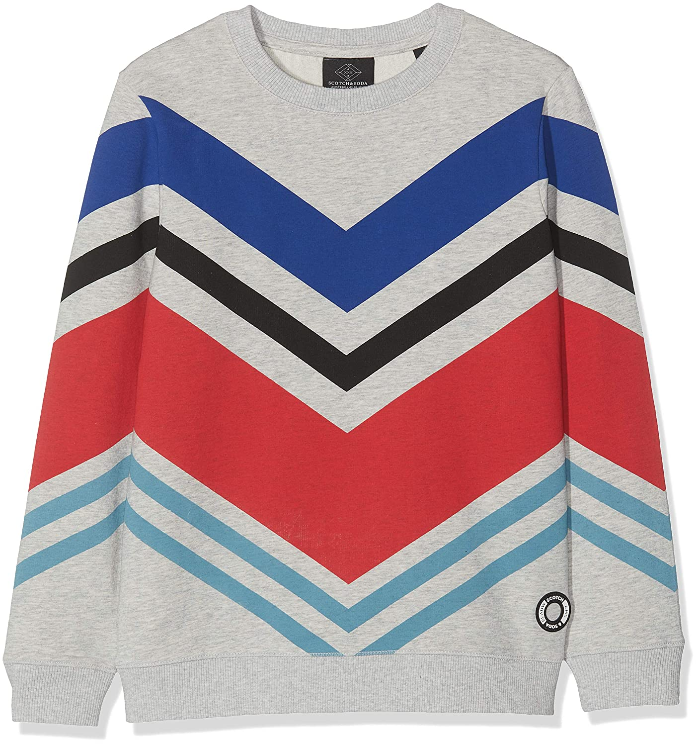 Scotch /& Soda Long Sleeve Tee in Light Weight Felpa with Big Flag Aops Maglia a Maniche Lunghe Bambino