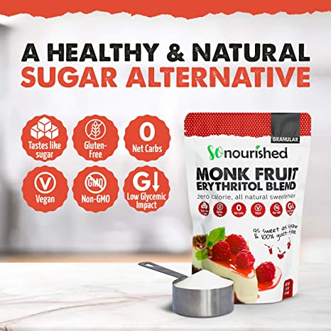 Granular Monk Fruit Sweetener with Erythritol (1 lb / 16 oz) - Perfect for  Diabetics and Low Carb Dieters -