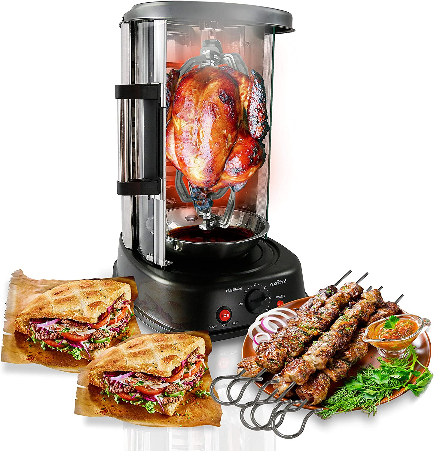 NutriChef Countertop Vertical Rotating Oven - Rotisserie Shawarma Machine, Kebob Machine, Stain Resistant & Energy Efficient W/ Heat Resistant Door,Includes Kebob Rack with 7 Skewers (PKRTVG34)