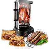 NutriChef Countertop Vertical Rotating Oven - Rotisserie Shawarma Machine, Kebob Machine, Stain Resistant & Energy…