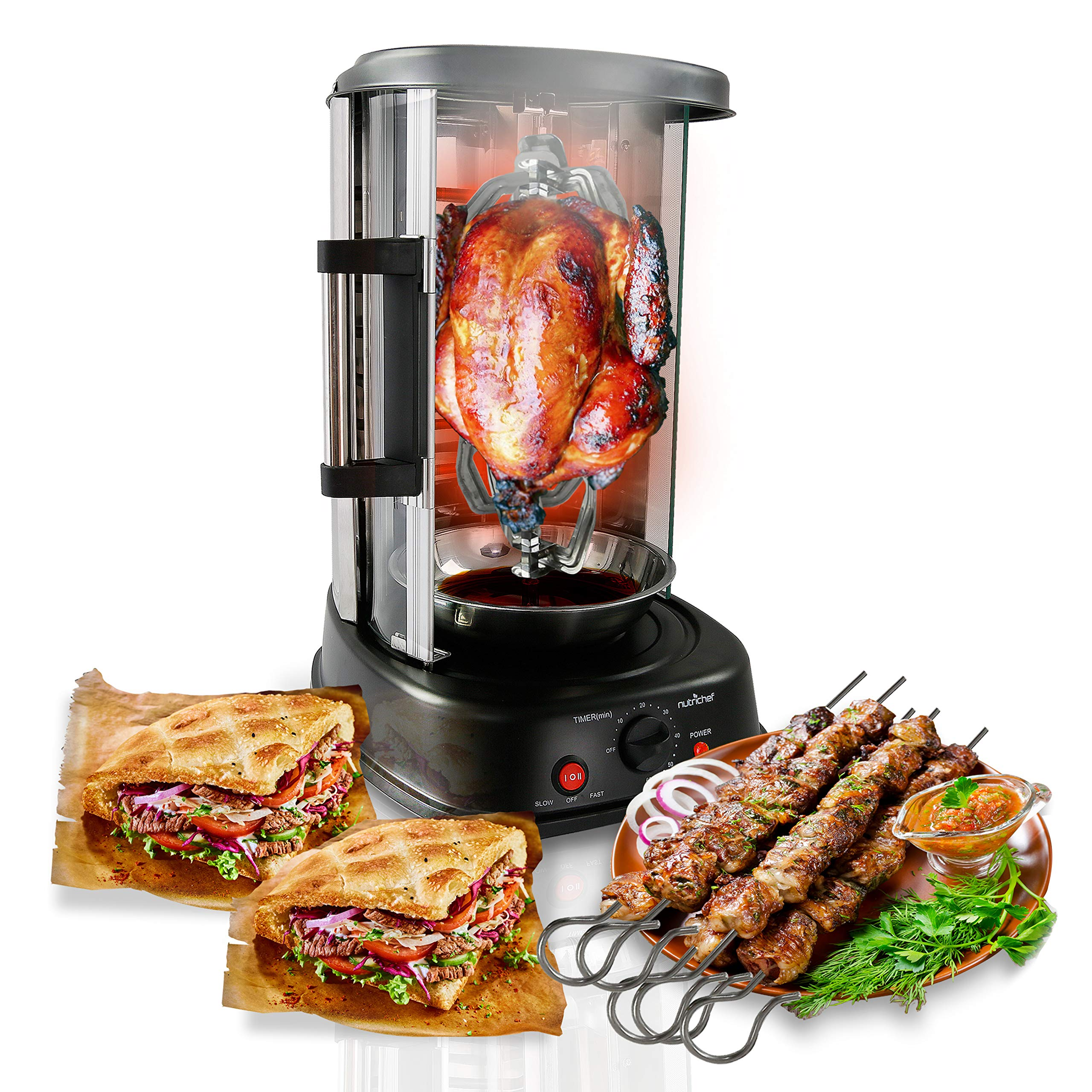NutriChef Countertop Vertical Rotating Oven - Rotisserie Shawarma Machine, Kebob Machine, Stain Resistant & Energy Efficient W/ Heat Resistant Door,  Includes Kebob Rack with 7 Skewers (PKRTVG34) by Nutrichef