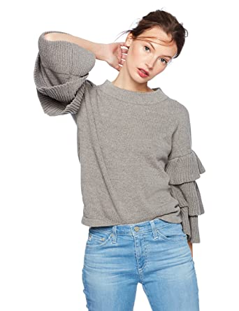 9ce791d01ac Amazon.com  Cable Stitch Women s Tiered Ruffle-Sleeve Sweater  Clothing