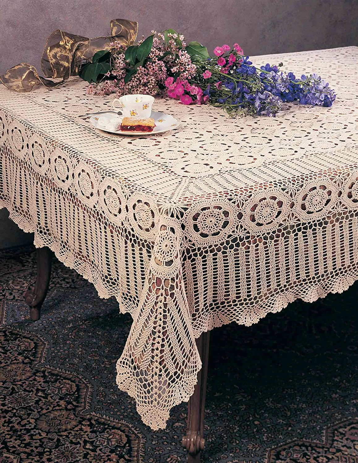 Lace Tablecloths Oval 300x300.jpg Amazon.com: Handmade Crochet Lace Tablecloth. 100% Cotton Crochet. Ecru, 72  Inch X108 Inch Oblong. One piece .: Home u0026 Kitchen