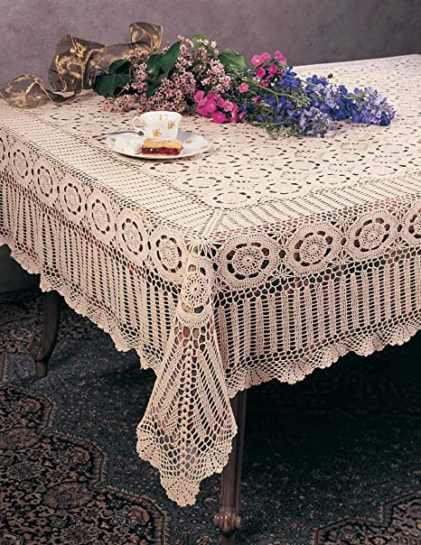 Christmas Tablescape Decor - Handmade Ecru Cotton Crochet Lace Vintage Style Table Cloth