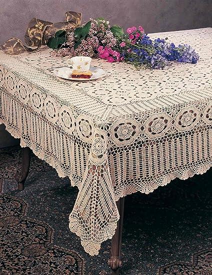 Merveilleux Handmade Crochet Lace Tablecloth. 100% Cotton Crochet. Ecru, 36 Inch Square.