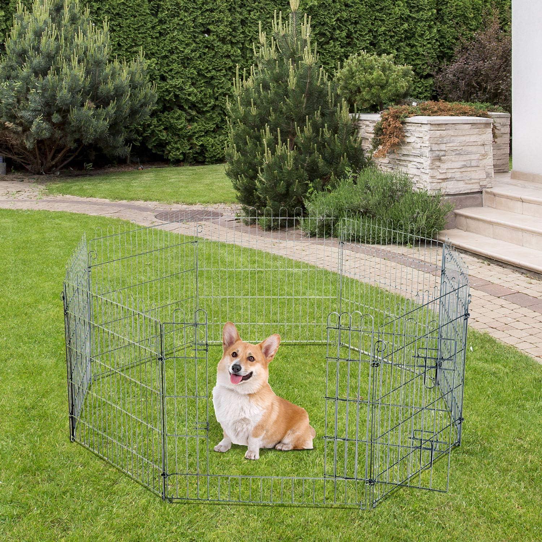 PawHut Parque para Cachorros Valla para Cachorros Animales Rejilla ...