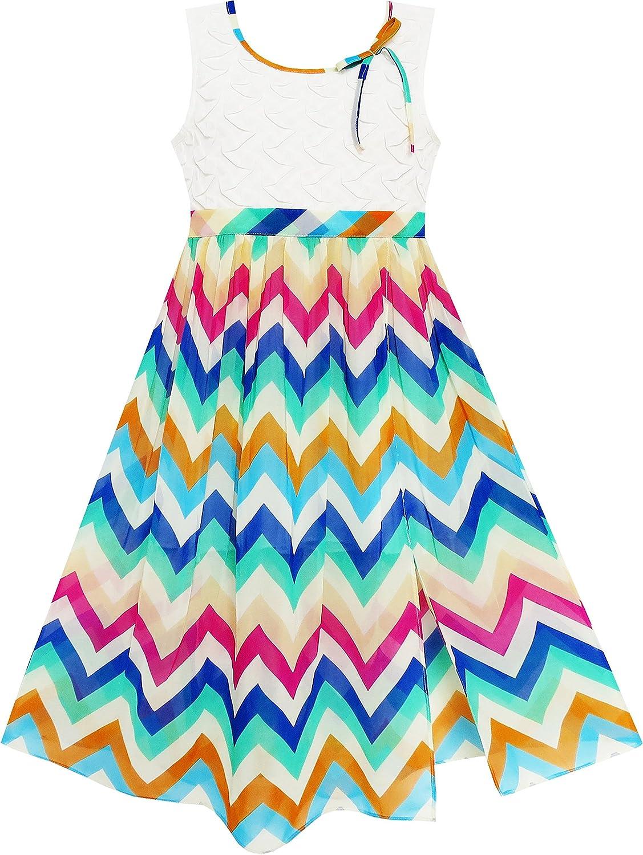 Sunny Fashion Girls Dress Lace Bodice Multicolor Wave Rainbow Striped