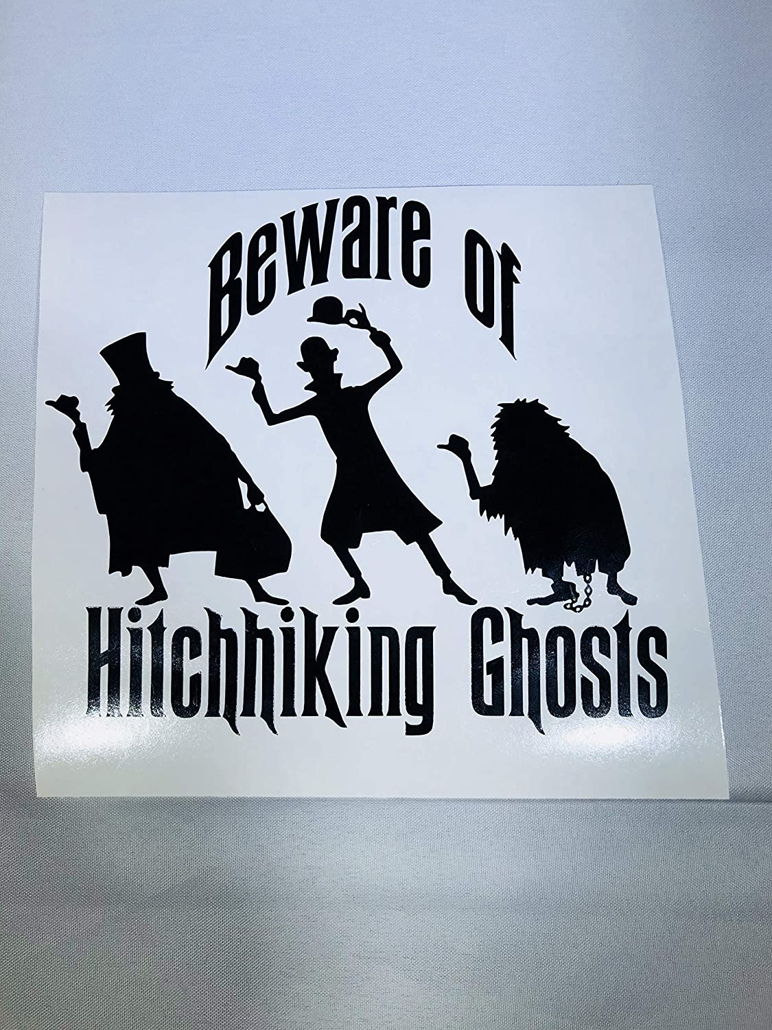 Beware of Hitchhiking Ghosts Decal Multiple Colors Available Haunted Mansion 4.25 Tall