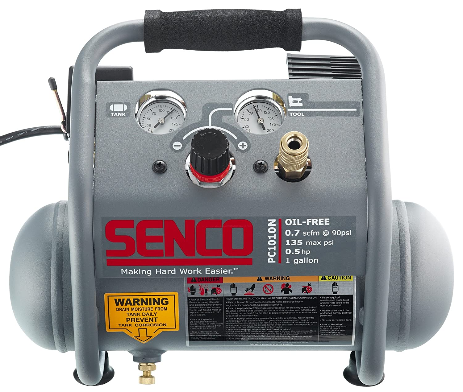 Senco PC1010N 1 2 Hp Finish Trim Portable Hot Dog Compressor, Grey