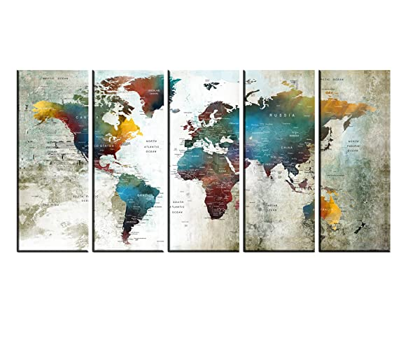 Amazon extra large wall art push pin world travel map print extra large wall art push pin world travel map print wall art canvas colorful world gumiabroncs Image collections