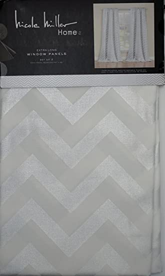 Amazon.com: Nicole Miller Set of 2 Curtain Panels Silver Chevron ...