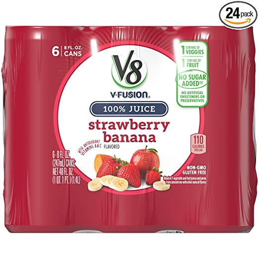 V8 Strawberry Banana, 8 oz. Can (4 packs of 6, Total of 24)