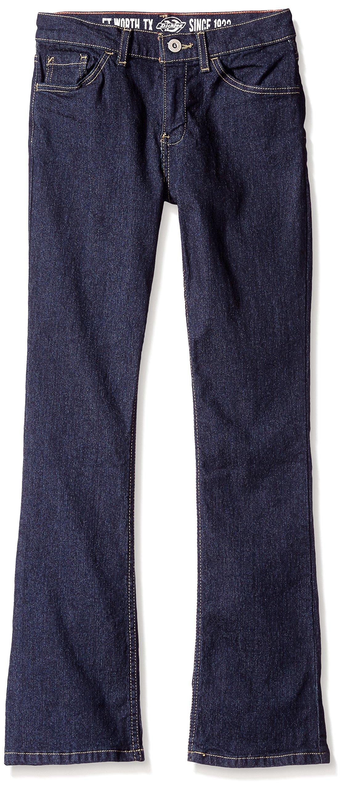 Dickies Big Girls' Stretch Boot Cut Denim Jean, Rinsed Indigo Blue, 16